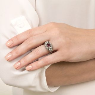 Edwardian Style Platinum Ruby and Diamond Ring