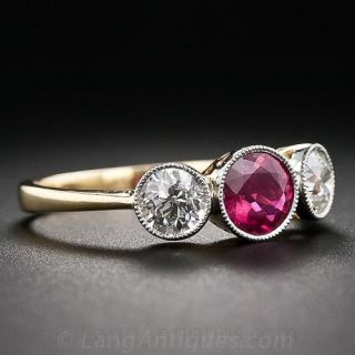 Edwardian Style Ruby and Diamond Ring