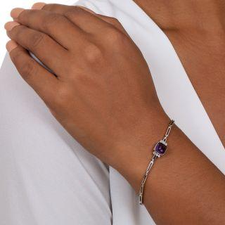 Edwardian Sugarloaf Amethyst and Rose-Cut Diamond Bracelet