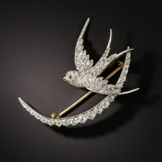 Edwardian Swallow and Crescent Pin