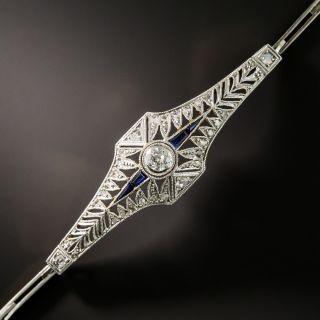 Edwardian Synthetic Sapphire and Diamond Link Bracelet - 3