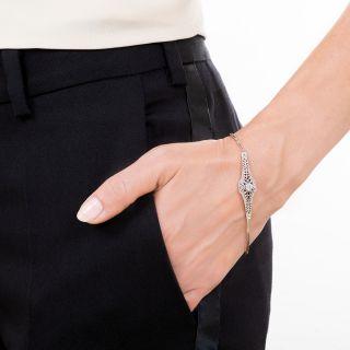 Edwardian Synthetic Sapphire and Diamond Link Bracelet