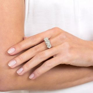 Edwardian Three-Stone 3.81 Carat Total Weight Diamond Ring - GIA