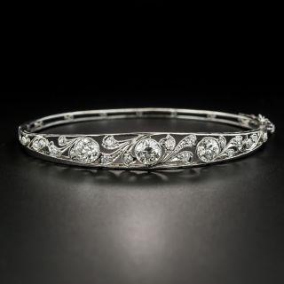 Edwardian Three-Stone Diamond Bangle Bracelet - 2