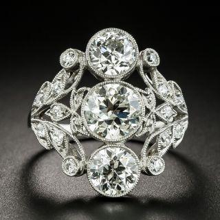 Edwardian Three-Stone Diamond Dinner Ring - GIA - 1