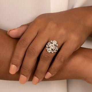 Edwardian Three-Stone Diamond Dinner Ring - GIA