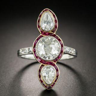 Edwardian Three-Stone Diamond Ring with Calibre Rubies - 1