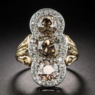 Edwardian Three-Stone Natural Cognac Diamond Ring - 5.50 Carats - 2