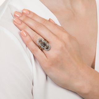 Edwardian Three-Stone Natural Cognac Diamond Ring - 5.50 Carats