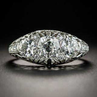 Edwardian Three-Stone Platinum Diamond Ring  - 1