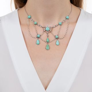 Edwardian Turquoise, Seed Pearl and Diamond Swag Necklace