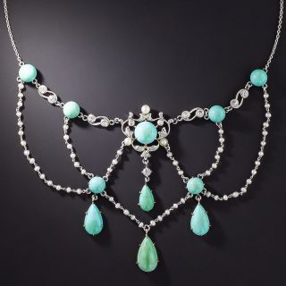 Edwardian Turquoise, Seed Pearl and Diamond Swag Necklace - 1