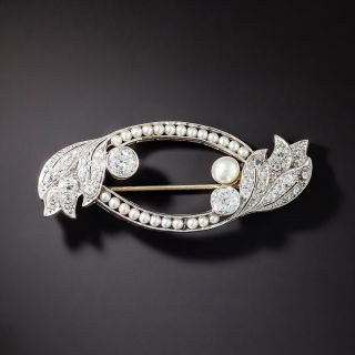 Edwardian Twin-Diamond and Natural Pearl Brooch - 1