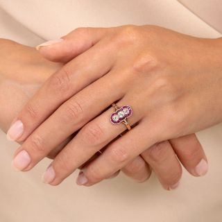 Edwardian Vertical Three-Diamond and Ruby Ring