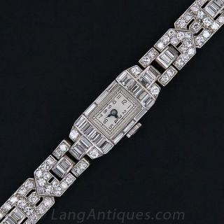 Elegant  French  Art Deco Diamond Bracelet Watch - 1