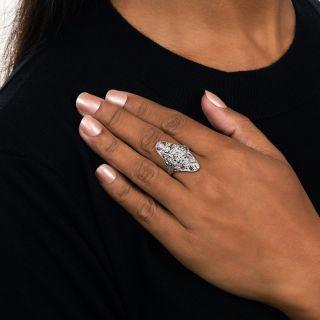 Elongated Art Deco Diamond Dinner Ring