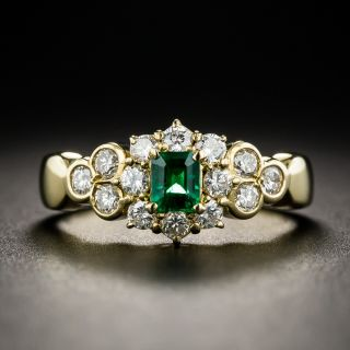 Emerald and 18K Gold Diamond Ring - 1