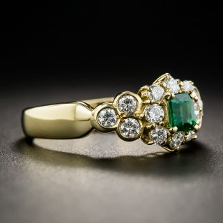 Emerald and 18K Gold Diamond Ring