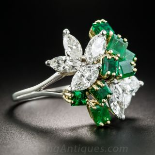 Emerald and Marquise Diamond Cocktail Ring