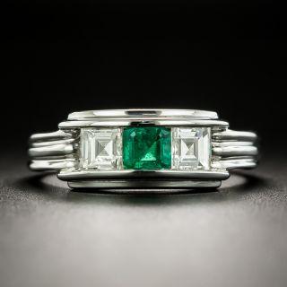 Emerald and Square Cut Diamond Ring - 1