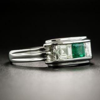 Emerald and Square Cut Diamond Ring