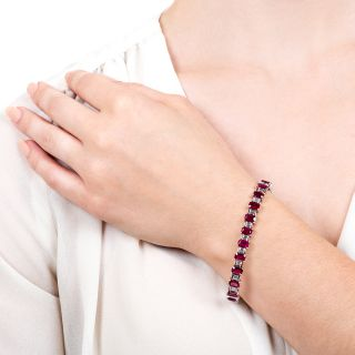 Emerald-Cut Burmese Ruby and Baguette Diamond Line Bracelet - GIA