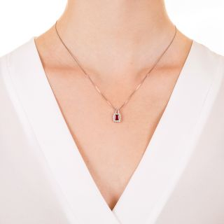 Emerald-Cut Ruby and Diamond Pendant