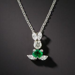 Emerald Diamond & Platinum Bunny Pendant