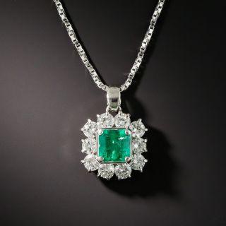 Emerald Platinum Diamond Drop - 1