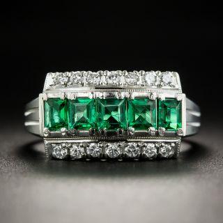 Emerald Platinum Diamond Ring - 1