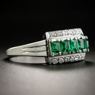 Emerald Platinum Diamond Ring