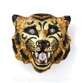 Enamel and Diamond Tiger's Head Pin