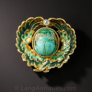 Enamel and Turquoise Scarab Pin