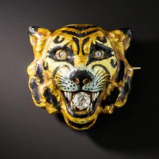 Enamel Diamond Tiger Pin by Alling & Co - 1