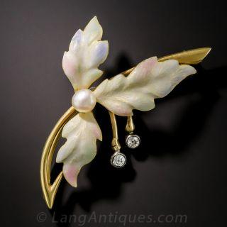 Enamel Three-Leaf Brooch with Pearl Diamonds