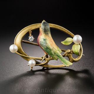 Enameled Bird Brooch by Krementz
