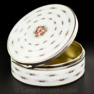 Enameled Rose Motif Round Box
