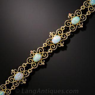 English 15K Gold and Opal Bracelet