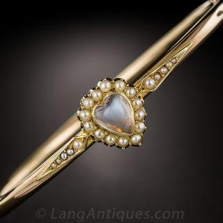 English 15K Moonstone and Pearl Antique Bangle Bracelet