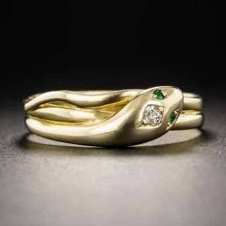 English 18K Diamond Snake Ring