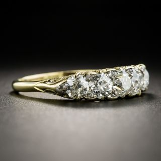 English 18K Five-Stone Diamond Carved Ring