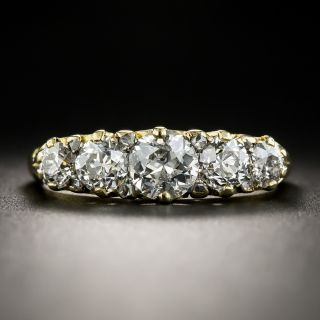 English 18K Five-Stone Diamond Carved Ring - 2