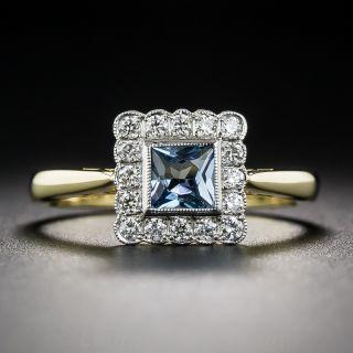 English Aquamarine and Diamond Vintage Style Ring