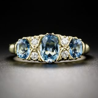 English Aquamarine and Diamond Vintage Style Ring - 1