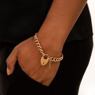 English Curb Chain Gate Bracelet, 1906