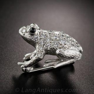 English Diamond Frog Pin