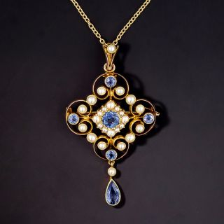 Antique/Edwardian Blue Sapphire and Seed Pearl Pendant/Brooch - 1