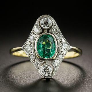 English Edwardian Style Emerald Diamond Ring - 2