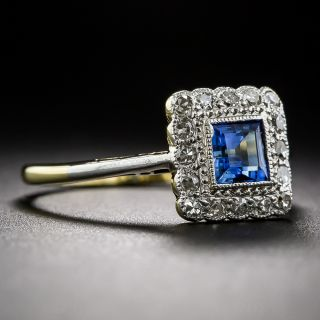 English Sapphire and Diamond Square Halo Ring