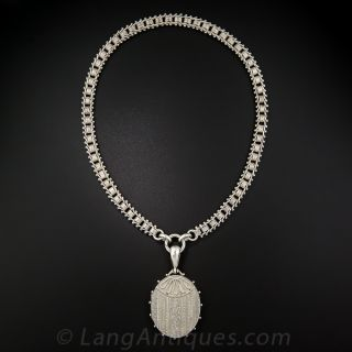 English Silver Locket and Chain